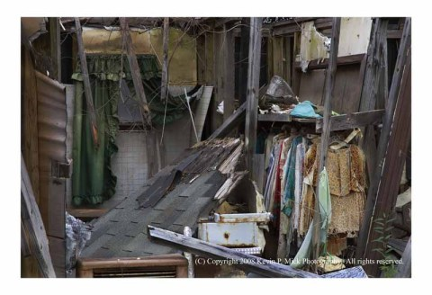 Clothes in destroyed Lower 9 bedroom