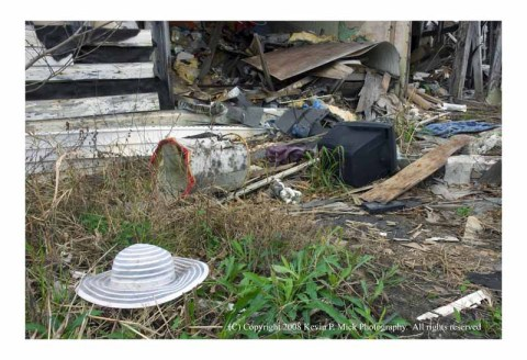 Hat outside Lower 9 house