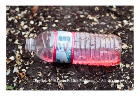 Water bottle in street