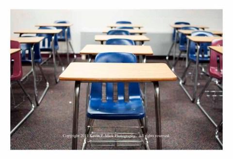 Classroom desks in a row