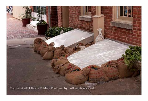 Basement doors covered and bagged in Fells Point prior to Irene