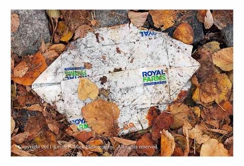Crushed Royal Farms food box