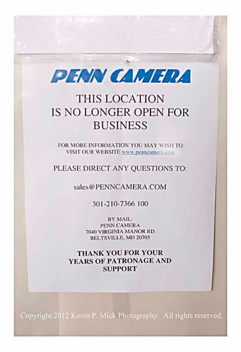 Penn Camera note explaining closing of store