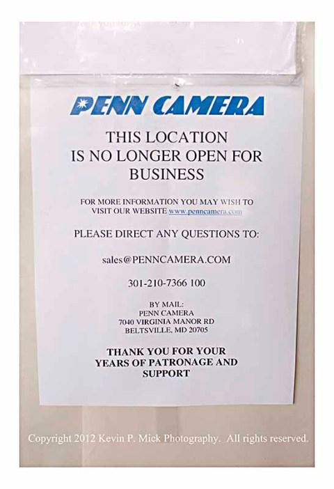 Penn Camera note explaining closing of store