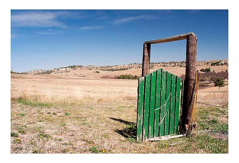 Green gate opening to the prairie
