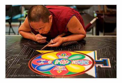 Monk working on Mandala
