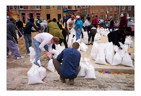 Filling sandbags in advance of Hurricane Sandy