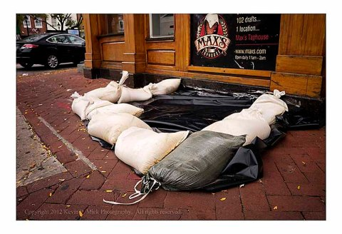 Filled sandbags placed to prevent flooding