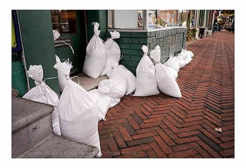 Sandbags placed to prevent flooding