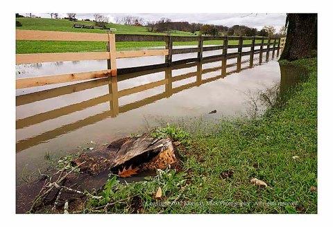 Standing water in field post Superstorm Sandy