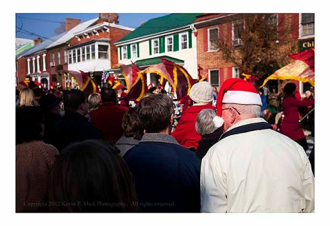 Crowd watching Shepherdstown Christmas Parade.