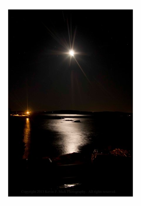 The moon over Passamaquoddy Bay in Perry, Maine.