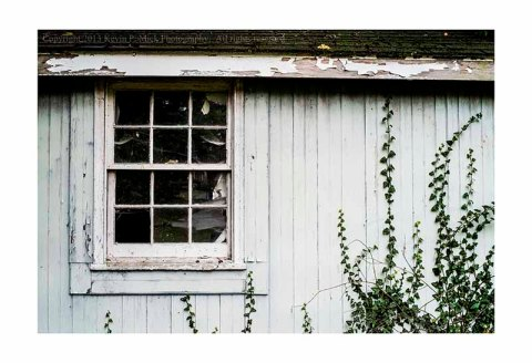 Old shed with broken window.