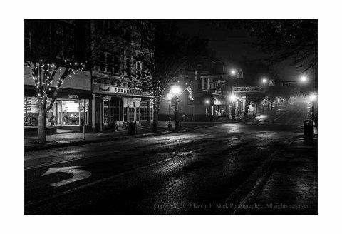 Main Street on an early, foggy, morning.