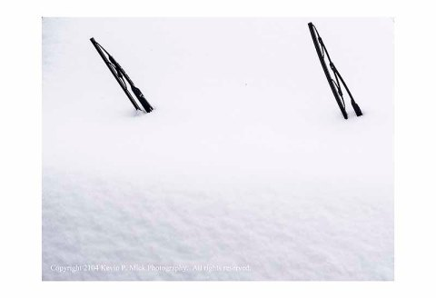 Windshield wipers protruding from snow.