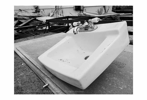 Sink outside a remodeled building in Ocean City, Maryland.