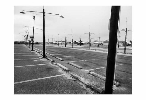 Empty parking lot in Ocean City, Maryland.