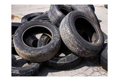 A pile of abandoned tires.