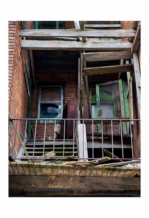 Broken staircase in Detroit, Michigan.