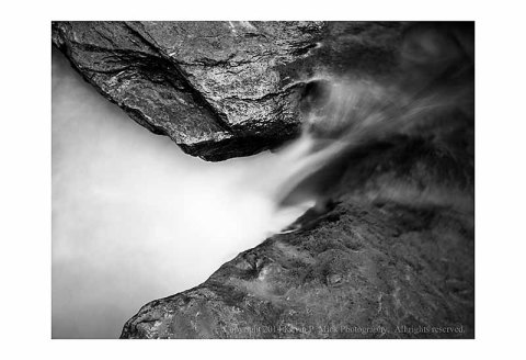 B&W images of a mini-waterfall at Morgan Run.