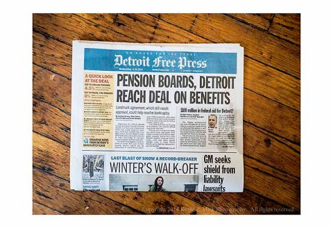 Detroit Free Press newspaper announcing deal agreement.
