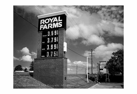 BW photograph of a Royal Farms store sign.