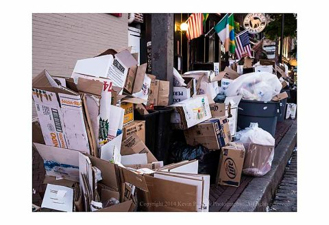 Trash lining the street in Fells Point on July 5th.