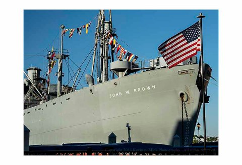S.S. John W. Brown and U.S. flag.