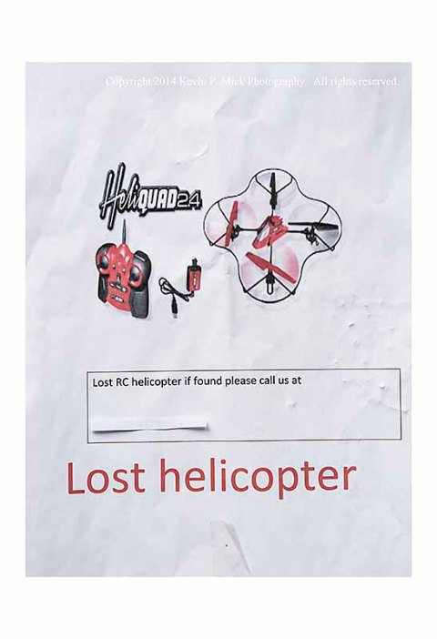 Poster searching for a lost radio-controlled helicopter.