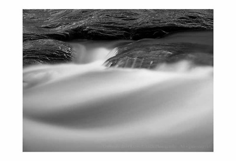 BW photograph of Morgan Run after a heavy rain.