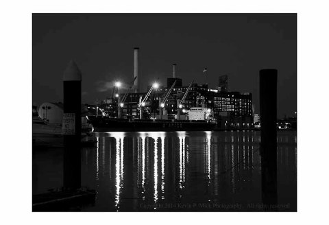BW photo Ship docked at Domino Sugar plant.