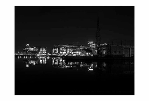 BW photograph of Baltimore City from Fells Point.