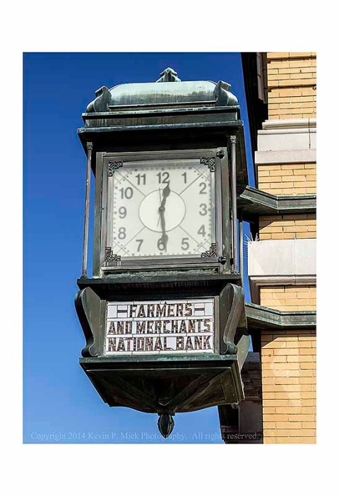 Famers and Merchants National Bank Clock in Winchester, VA.