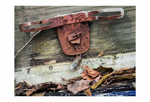 Rusted license plate bracket.