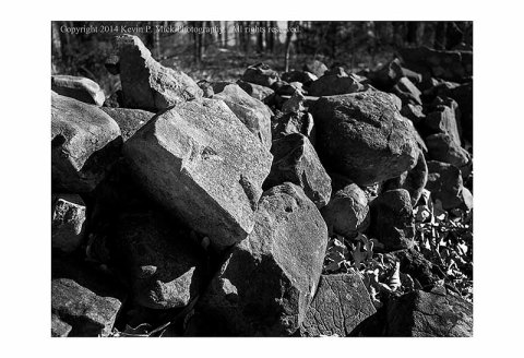 BW photograph of a stone fence along Confederate Ave. in Gettysburg, PA.