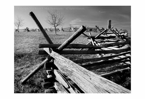 BW photograph of a wood fence along the Peach Orchard in Gettysburg, PA.