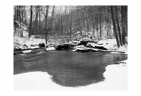 BW photograph of Morgan Run after a light snow.