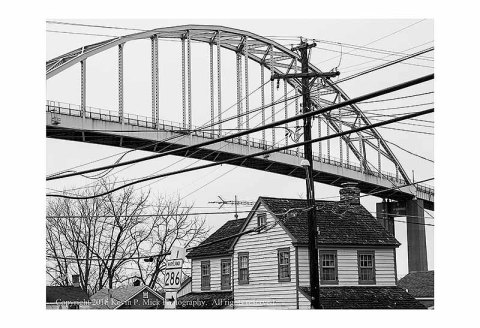 BW photograph of the Chesapeake City, MD. canal bridge.