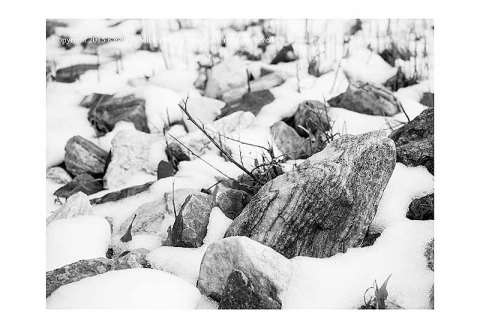 BW photograph of rocks with a bed of spring snow