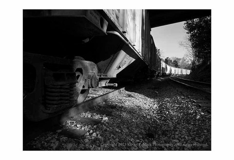 BW photograph of an idle train