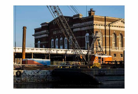 Cranes working on the renovation of the Broadway City Pier building in Fells Point