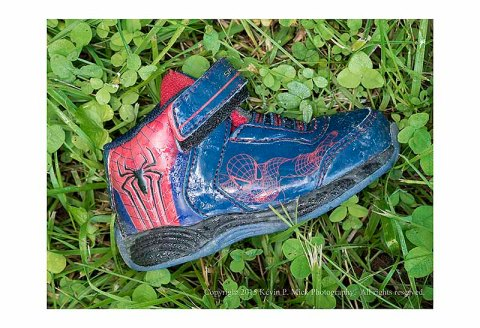 Children's lone Spiderman shoe left behind in the grass