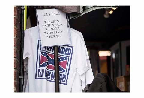 "T shirt with Confederate battle flag and the words ""I'm Offeneded That You're Offended"""