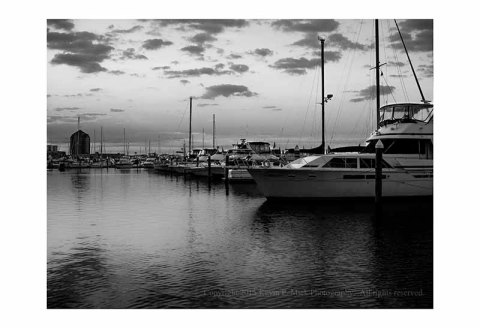 BW photograph of a Fells Point marina in the early morning