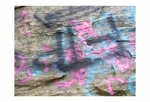 Graffiti painted on rocks at Morgan Run