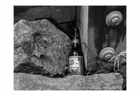 BW photograph of a Budweiser bottle amid some rocks
