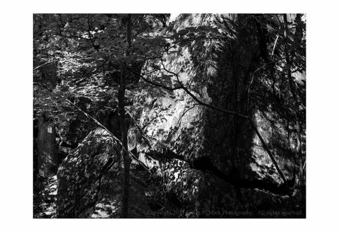 BW photograph of rocks in bright sunlight