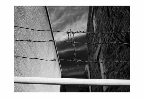 BW photograph of a barbed wire fence between buildings