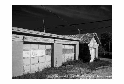 BW photograph of an old garage