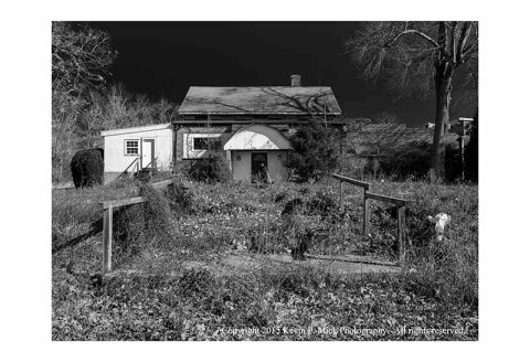BW photograph of an abandoned daycare center